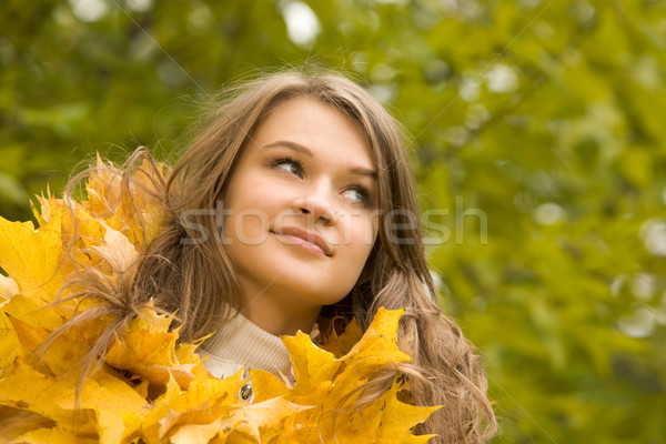 énigmatique Rechercher portrait visage belle femme Photo stock © pressmaster