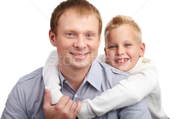 Genegenheid portret gelukkig vader zoon naar camera Stockfoto © pressmaster