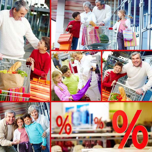 Consumenten collage gelukkig grootouders kleinkinderen familie Stockfoto © pressmaster