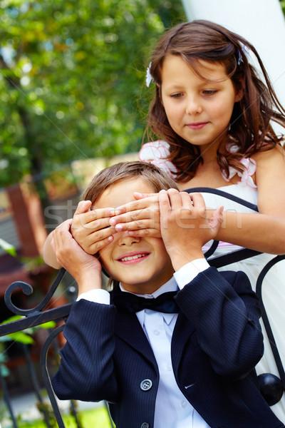 Spaß Porträt cute Mädchen Braut Augen Stock foto © pressmaster