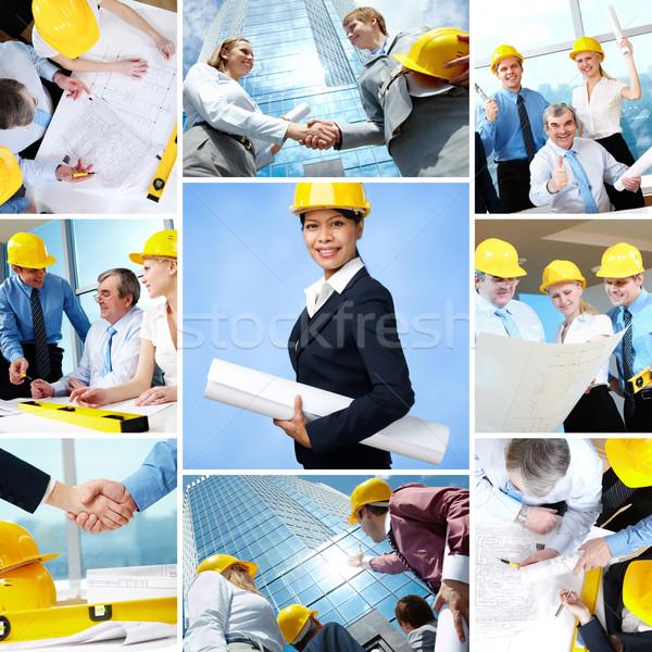 Kollázs üzlet csapatok vezető dolgozik építészet Stock fotó © pressmaster
