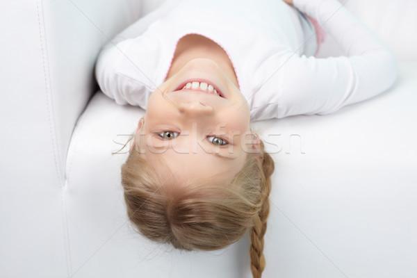 Foto stock: Doce · criança · retrato · menina · feliz · olhando · câmera
