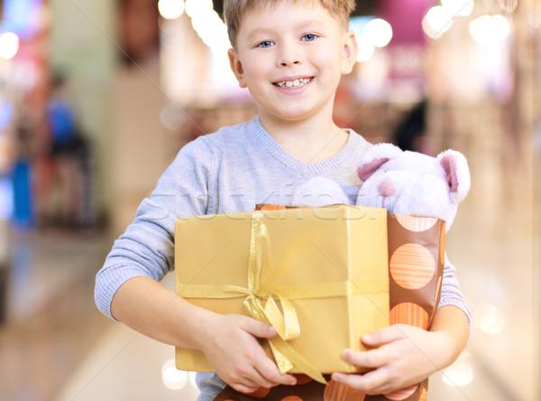 Feliz chico retrato nino osito de peluche Foto stock © pressmaster