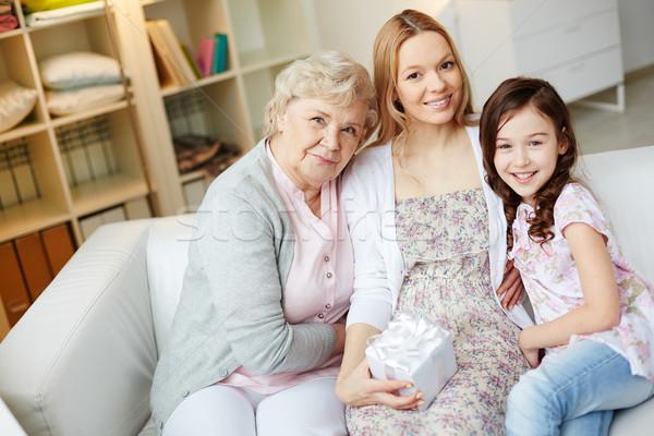 Stockfoto: Eengezinswoning · portret · gelukkig · meisje · moeder · grootmoeder