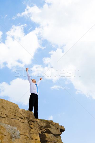 Stockfoto: Leven · groot · foto · blijde · zakenman · naar