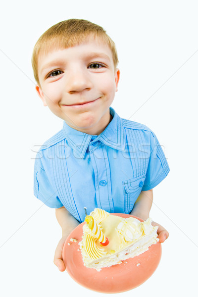 Boy with cake Stock photo © pressmaster