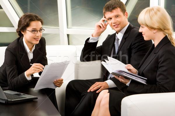 Negocios interacción retrato tres trabajadores Foto stock © pressmaster