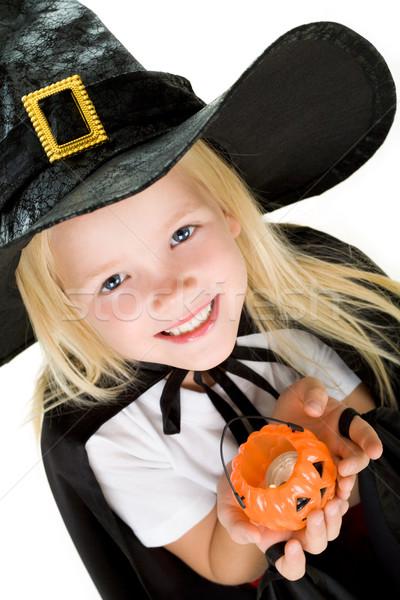 Halloween lány portré boszorkány jelmez kicsi Stock fotó © pressmaster