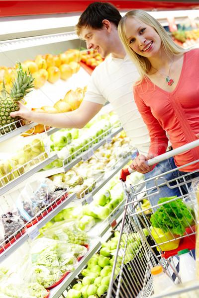 Stok fotoğraf: Alışveriş · portre · mutlu · kadın · bakıyor · kamera