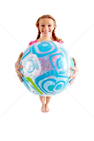Stock foto: Mädchen · Ball · Weitwinkel · freudige · Schlauchboot
