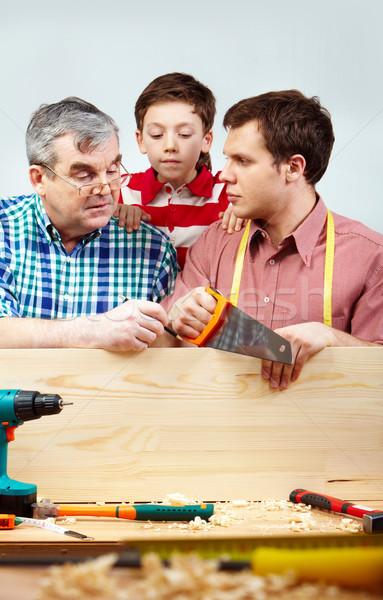 Foto stock: Trabajo · en · equipo · familia · hombres · de · trabajo · herramientas