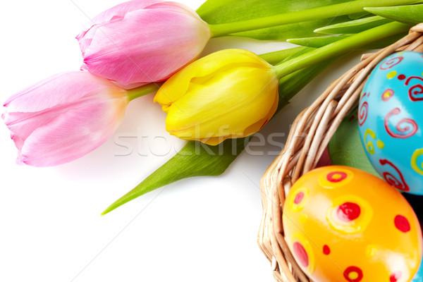 Kellemes húsvétot tulipán virágcsokor kosár húsvéti tojások húsvét Stock fotó © pressmaster