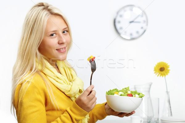 Girl with salad Stock photo © pressmaster
