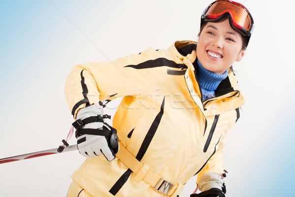 Téli sport portré boldog sportos nő síel Stock fotó © pressmaster