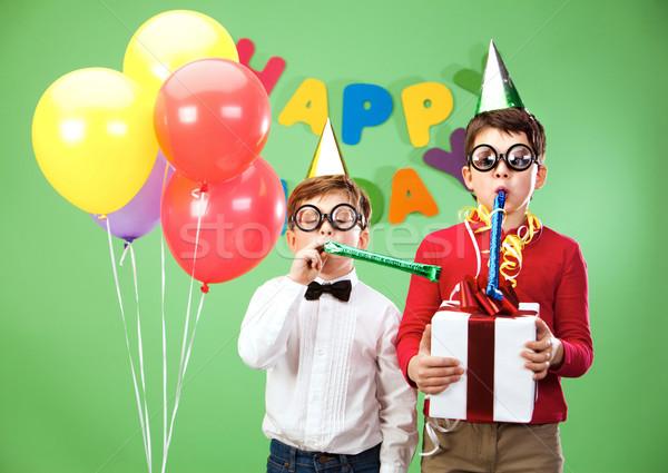 Verjaardag leuk portret smart jongens grappig Stockfoto © pressmaster