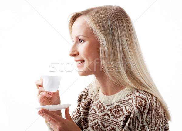 Сток-фото: кофе · минута · профиль · женщины · глядя