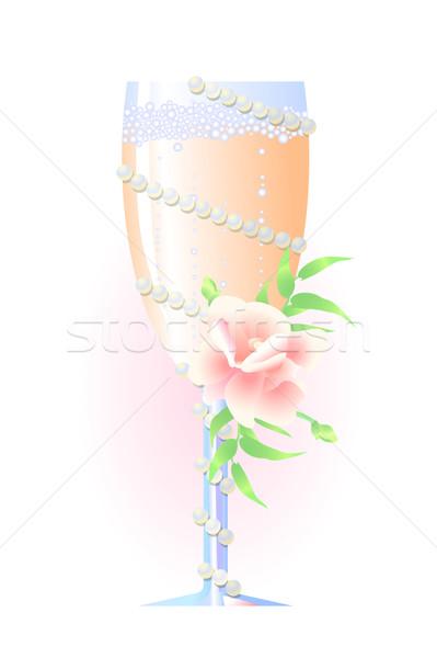 Stok fotoğraf: Düğün · şampanya · vektör · çiçekler · inciler · sevmek