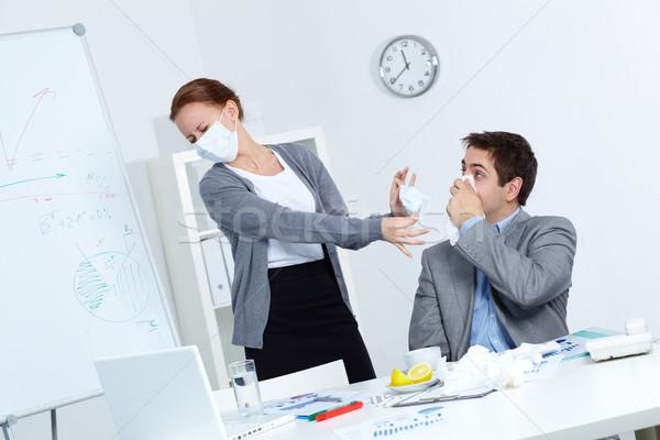 Image affaires mouchoir nez partenaire masque Photo stock © pressmaster