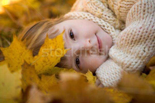 Sereniteit hoofd gouden bladeren najaar vreedzaam Stockfoto © pressmaster