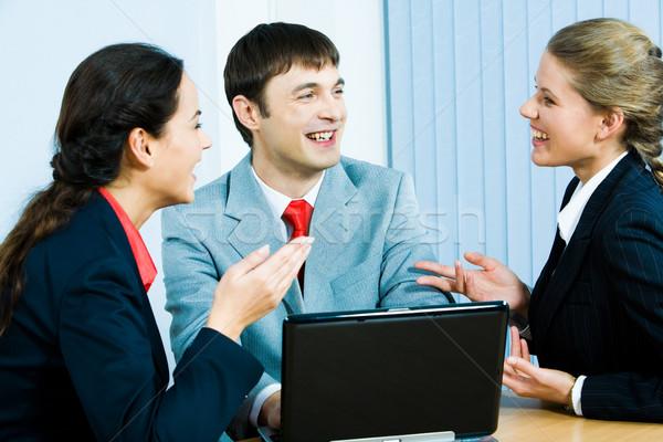 ストックフォト: 幸福 · 肖像 · 3 · 座って · オフィス