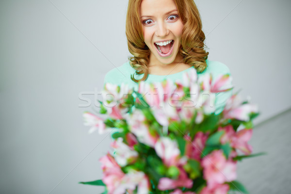 Photo stock: Wow · portrait · extatique · femme · fleurs