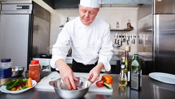 Stockfoto: Afbeelding · mannelijke · vlees · keuken · voedsel