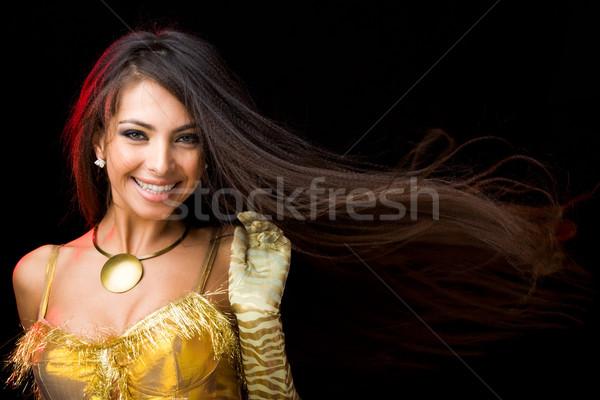 Stock fotó: Dinamizmus · kép · örömteli · hölgy · szórakozás · néz