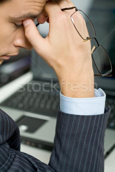 Yorgunluk fotoğraf yorgunluk adam gözlük Stok fotoğraf © pressmaster