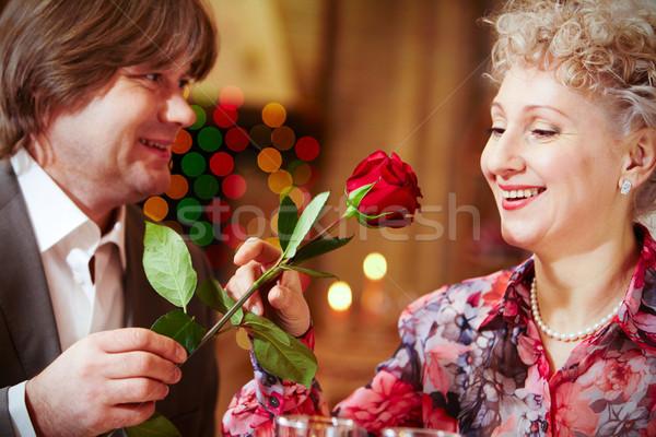 Ocasião imagem bela mulher olhando rosa vermelha mulher Foto stock © pressmaster
