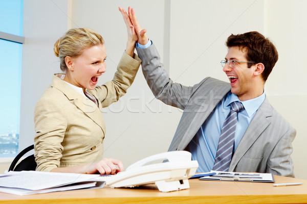 Stockfoto: Succes · afbeelding · twee · werken · kantoor