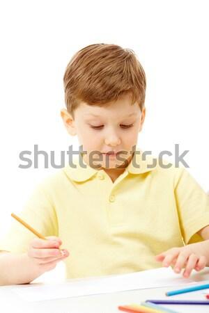 Photo stock: Peinture · portrait · crayon · regarder