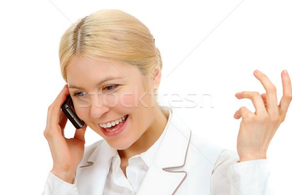 Boldogság kép boldog nő hív telefon Stock fotó © pressmaster