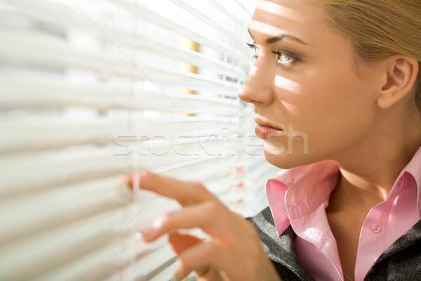 Irodai dolgozó kép csinos üzletasszony néz redőny Stock fotó © pressmaster