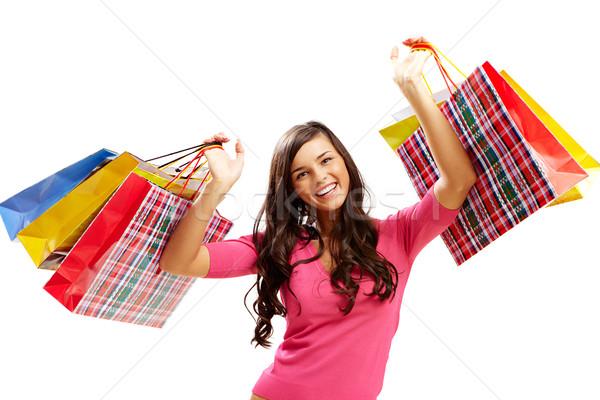 買い物客 袋 肖像 幸せな女の子 カラフル ストックフォト © pressmaster
