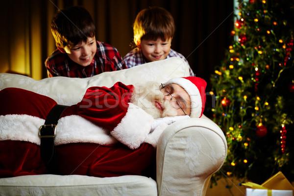 Foto stock: Crianças · foto · papai · noel · adormecido · sofá