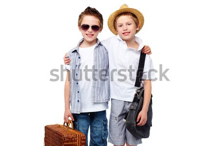 Stockfoto: Picknick · vrienden · portret · cool · jongens · klaar
