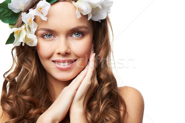 Geïsoleerd portret jonge haren ingericht bloemen Stockfoto © pressmaster