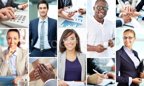 Jovem pessoas de negócios colagem inteligente trabalhar Foto stock © pressmaster