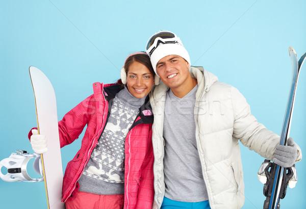 Téli sport portré csinos lány jóképű férfi tart Stock fotó © pressmaster