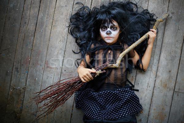 Kid with broom Stock photo © pressmaster