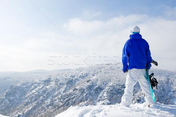 Solitudine vista posteriore di snowboard piedi top Foto d'archivio © pressmaster