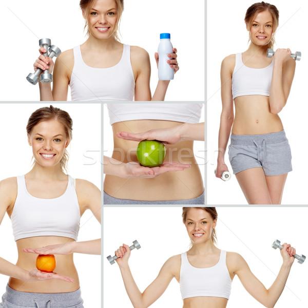 Egészséges élet kollázs lány gyakorol egészséges életmód nő Stock fotó © pressmaster