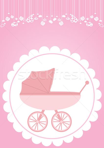 Rózsaszín babakocsi újszülött lány absztrakt gyermek Stock fotó © pressmaster
