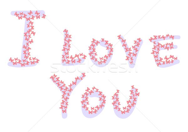Szeretet nyilatkozat rózsaszín pillangók absztrakt festmény Stock fotó © pressmaster