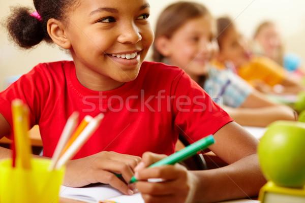 Photo stock: Attention · rangée · élèves · regarder · enseignants · cute