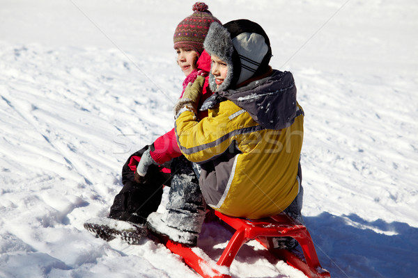 Kids on sledge Stock photo © pressmaster