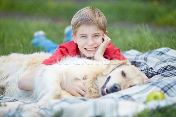 Jongen huisdier portret cute pluizig gras Stockfoto © pressmaster