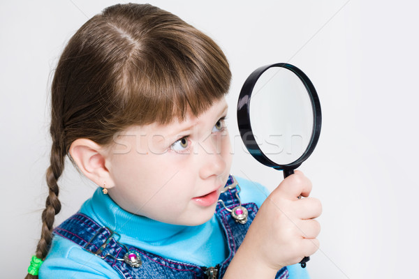 Stock fotó: Néz · lencse · közelkép · kicsi · lány · tart