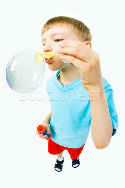 Gyermek szappanbuborékok portré aranyos fúj izolált Stock fotó © pressmaster