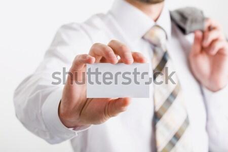 Fehér kártya kép ujjak tart névjegy Stock fotó © pressmaster